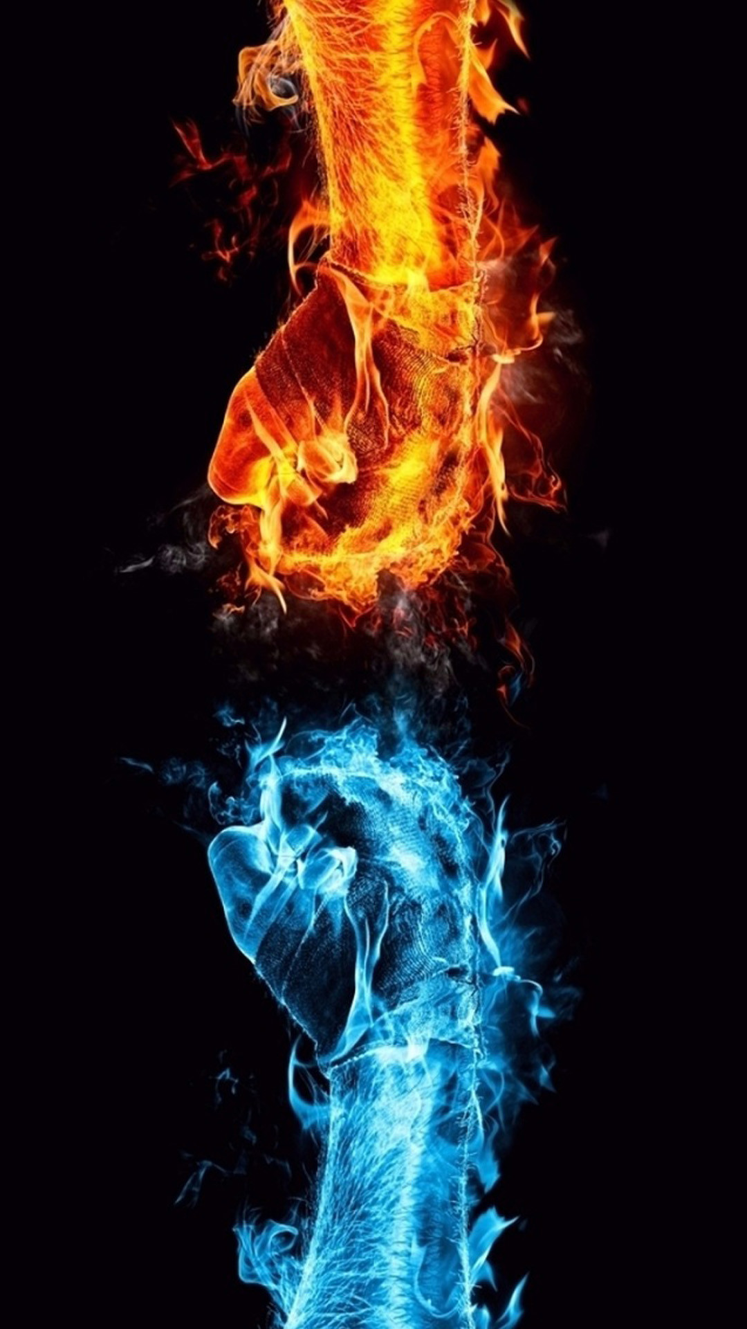 Blue and red fire fist Note 3 Wallpapers
