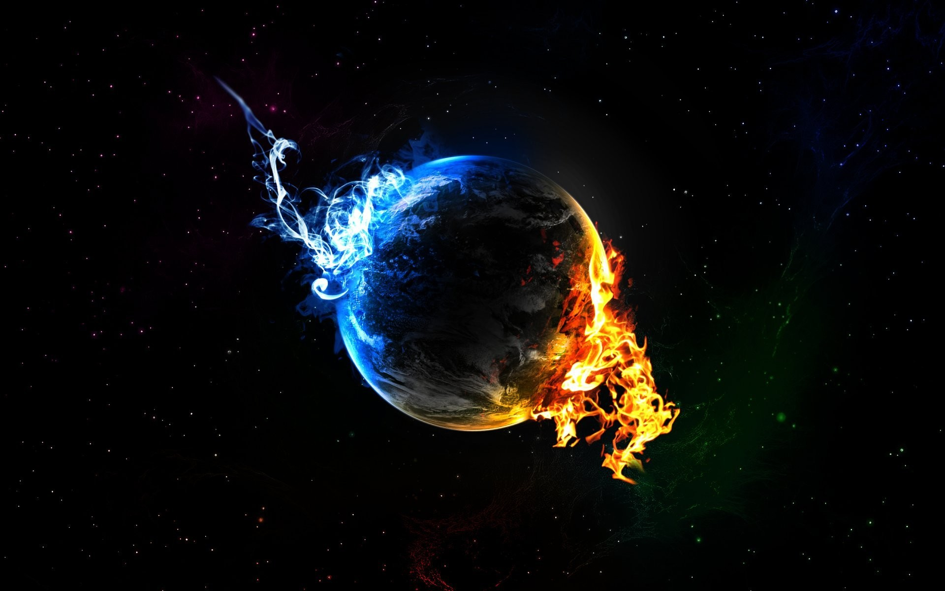 planet star flame blue fire