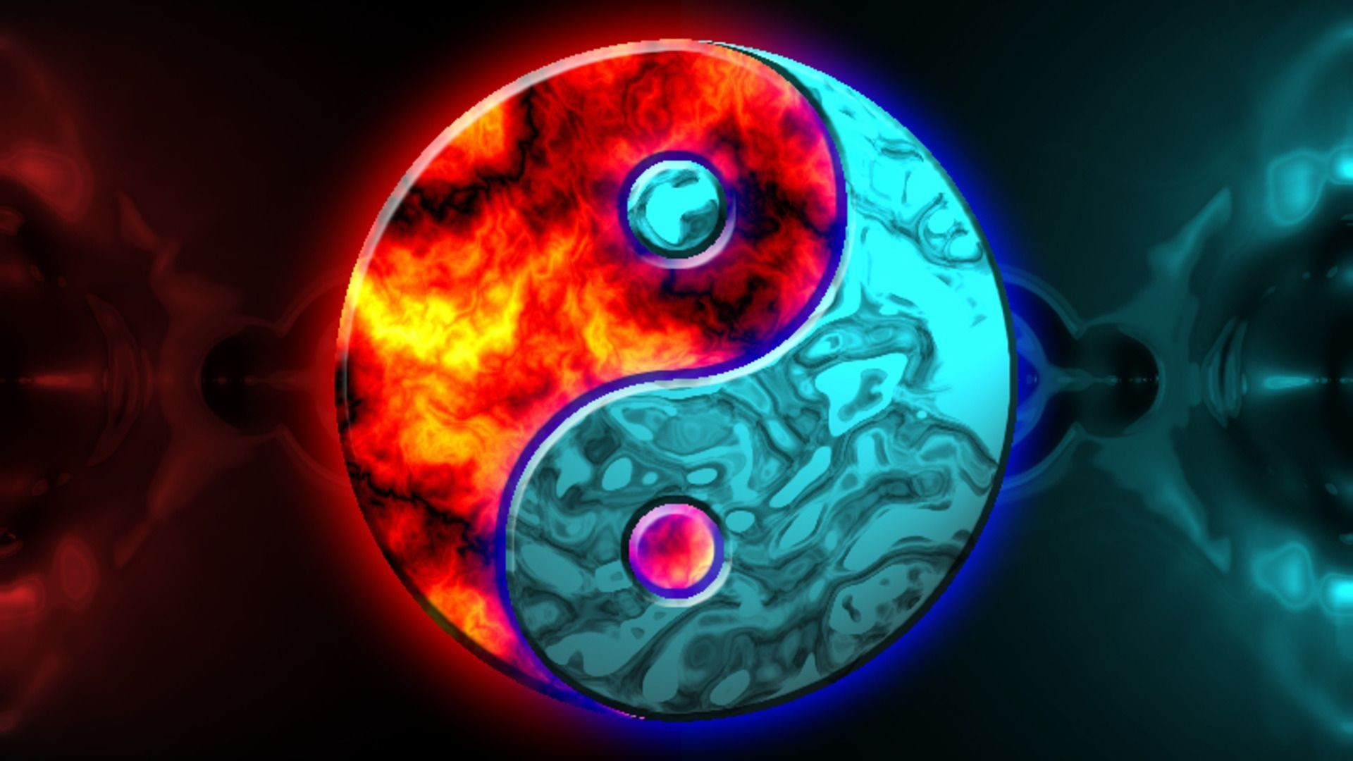 Red blue yin yang awesome