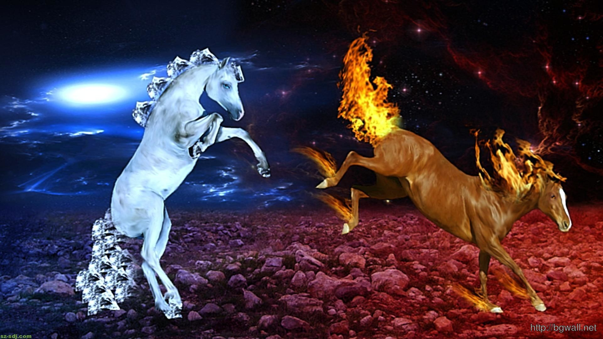 Horse Ice And Fire Cool Image Wallpaper
