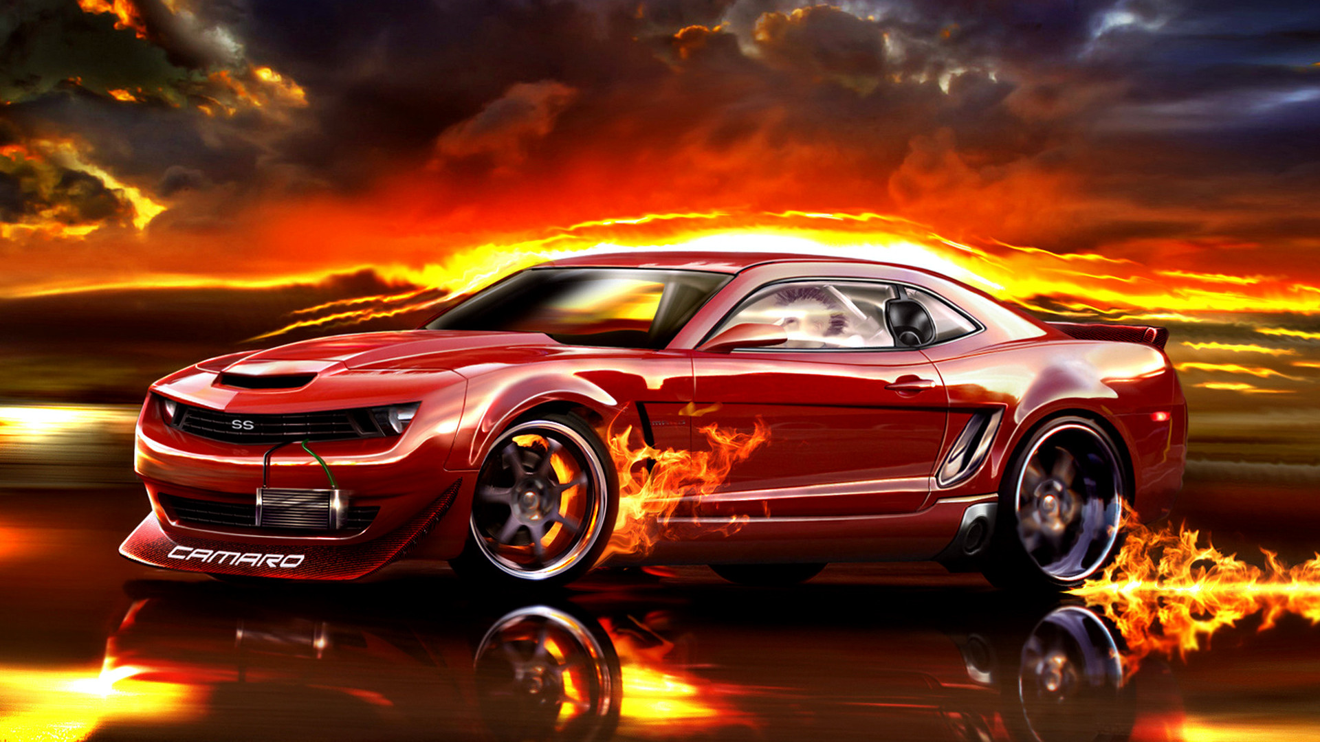 Red Chevrolet Camaro Fire Wallpapers HD / Desktop and Mobile Backgrounds