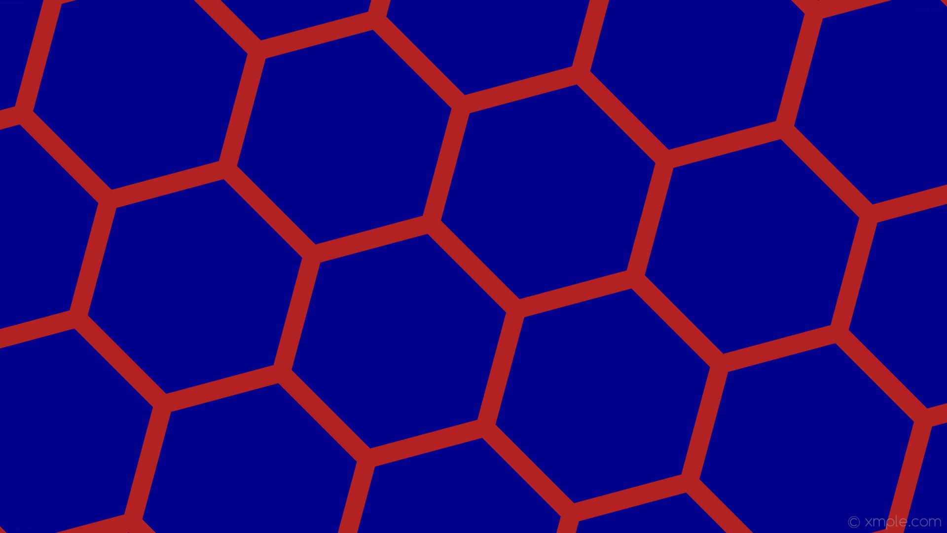 wallpaper beehive honeycomb red hexagon blue dark blue fire brick #00008b  #b22222 diagonal 45