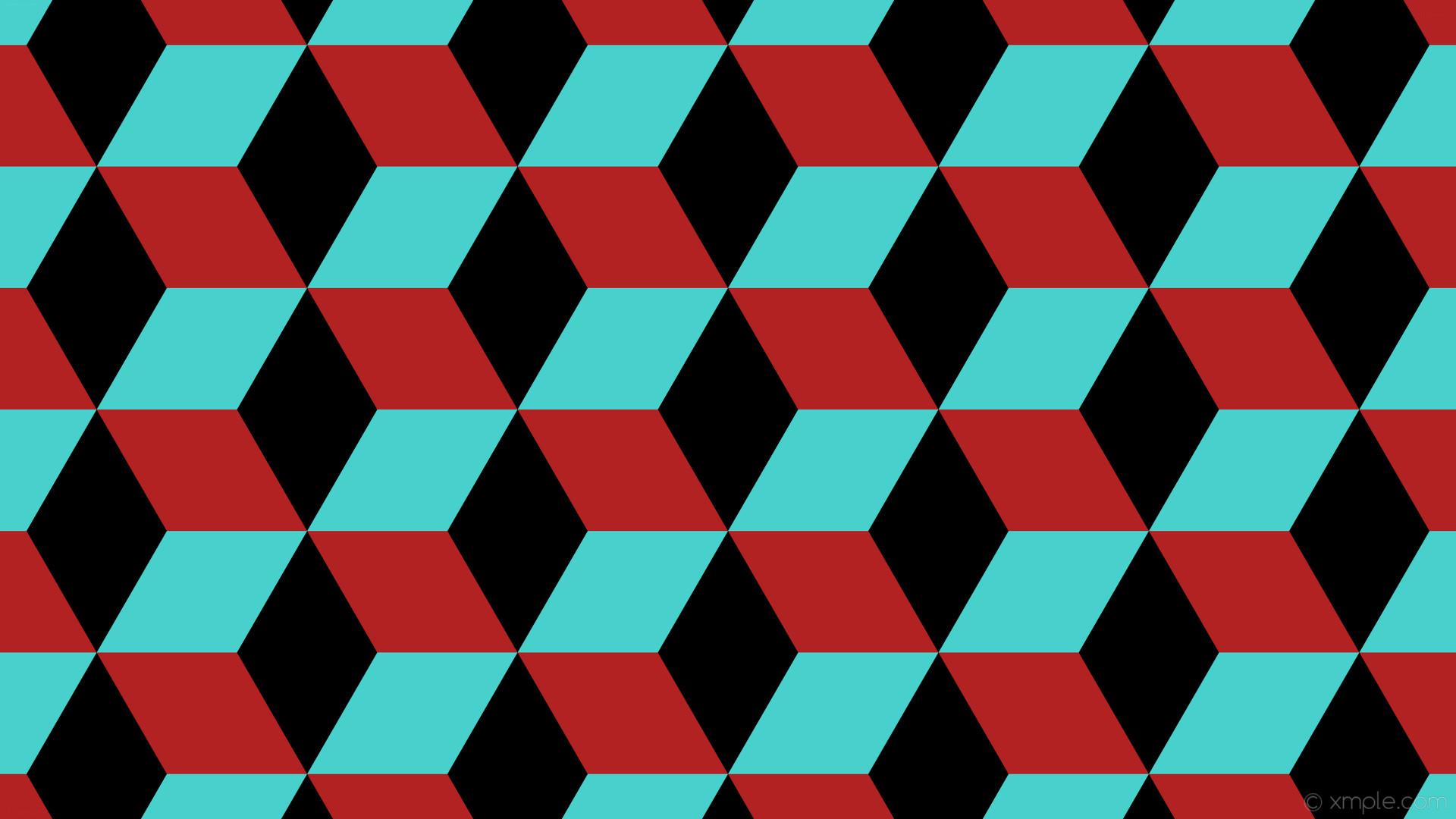 wallpaper red blue 3d cubes black medium turquoise fire brick #000000  #48d1cc #b22222
