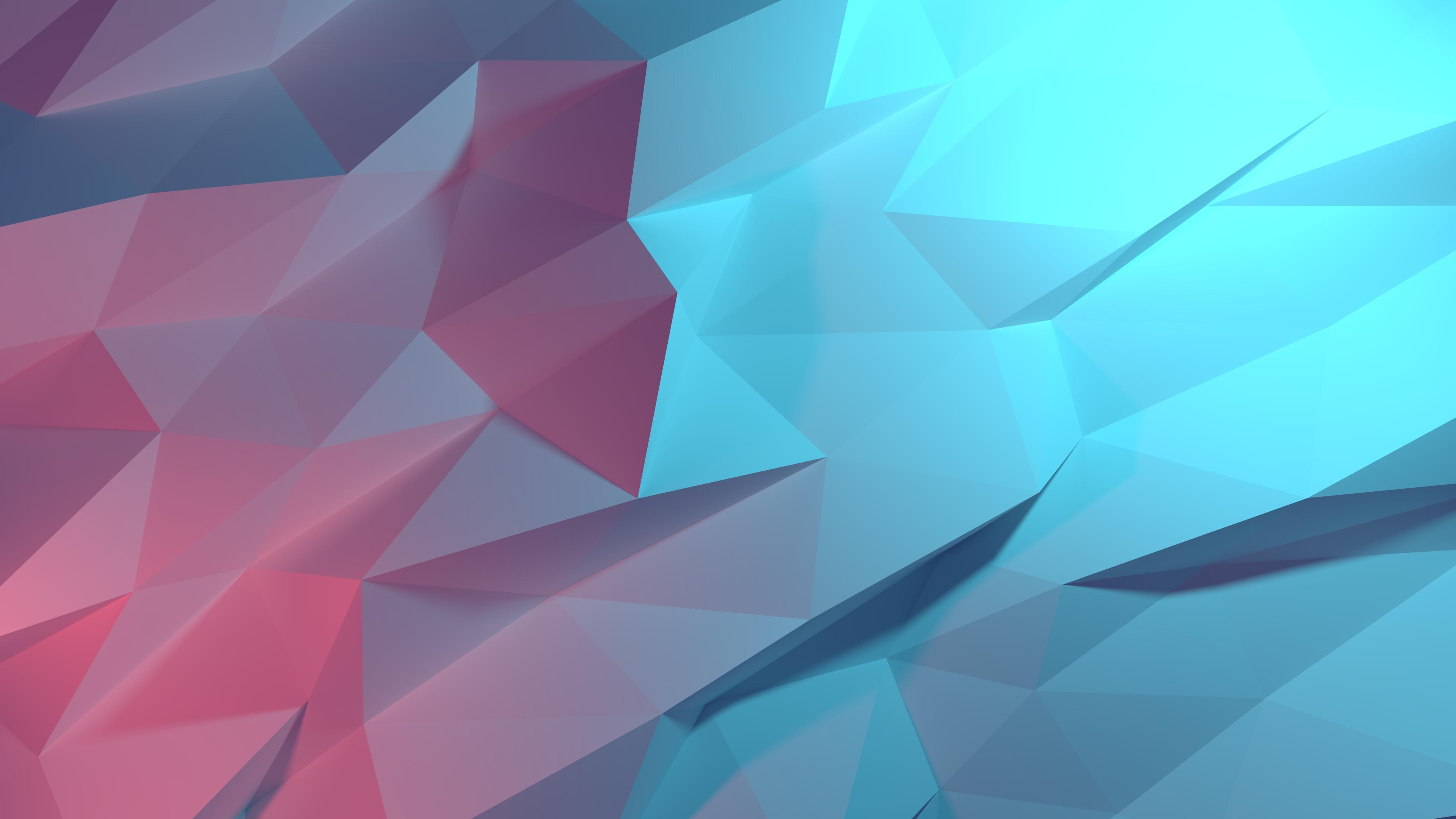 Cool Blue Red 3-D Landscape Wallpaper