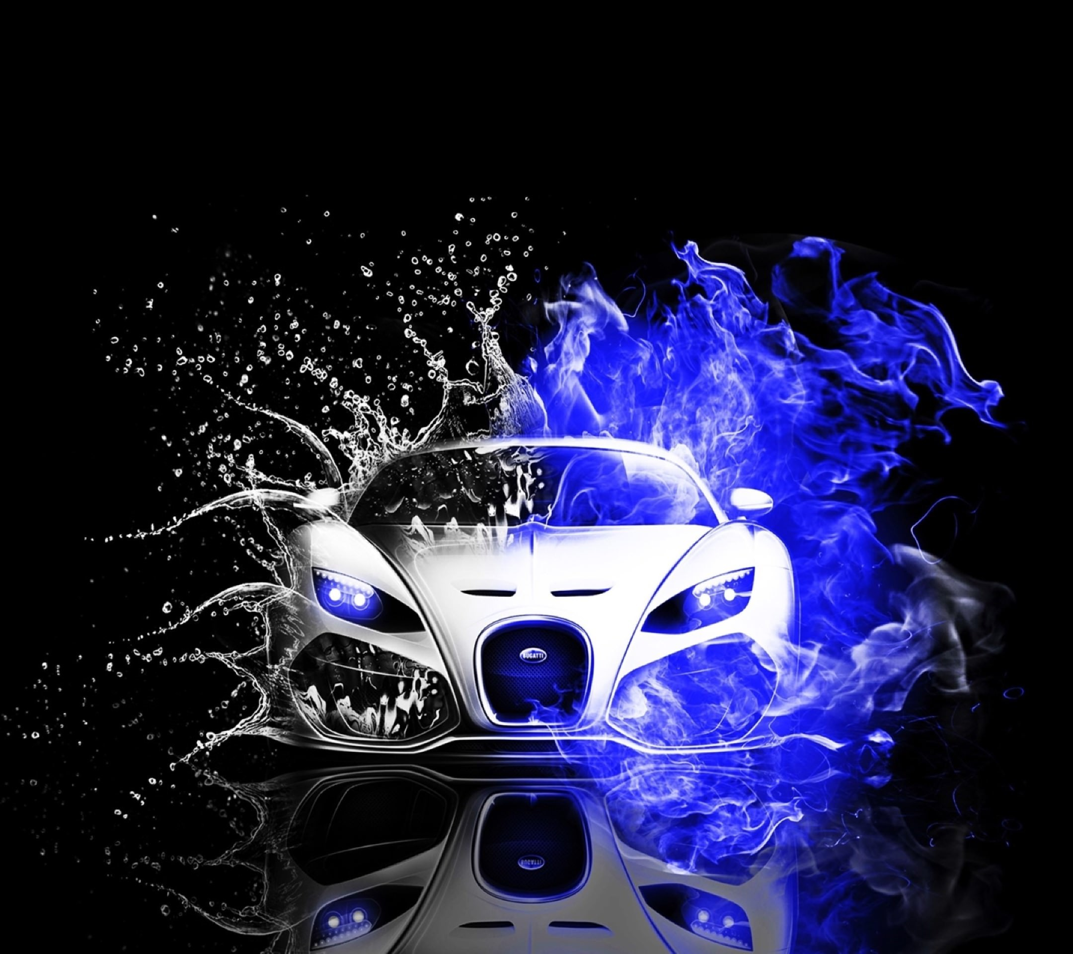 Cool Cars blue water black-and-white Android SmartPhone Wallpaper