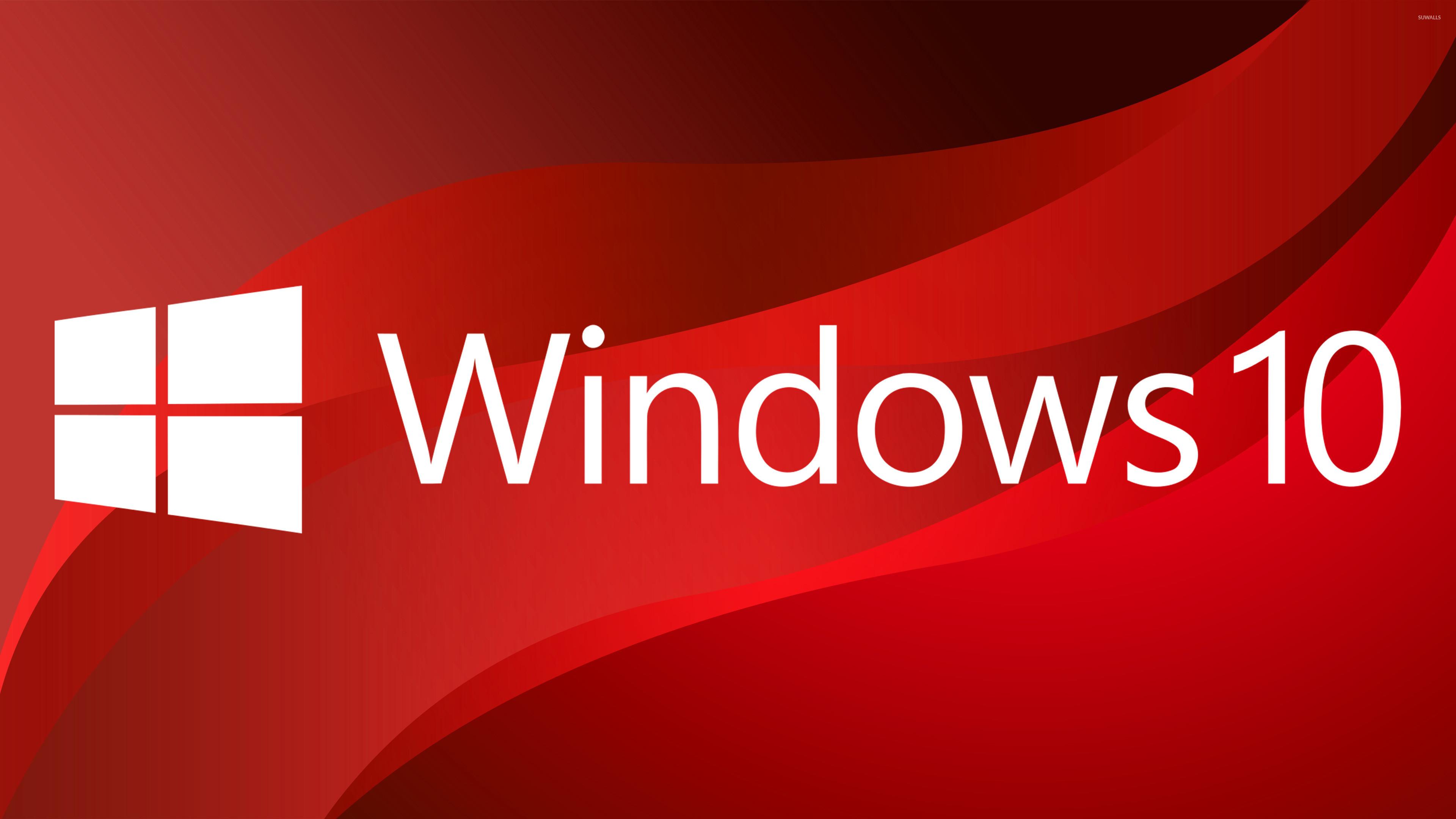 Windows 10 big white logo on red curves wallpaper