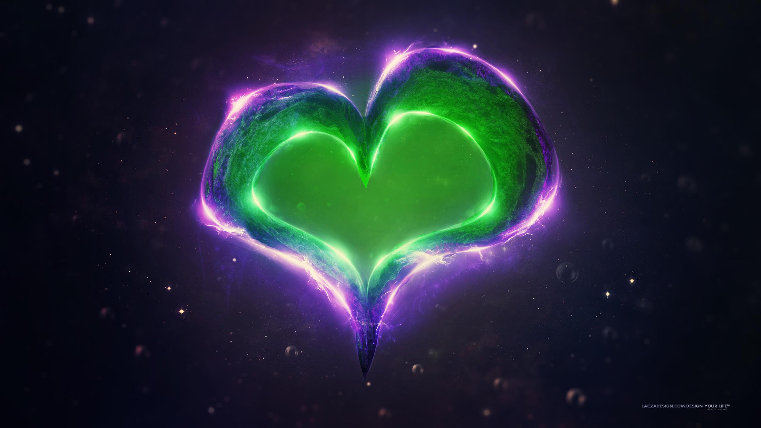 Green Purple Love Heart