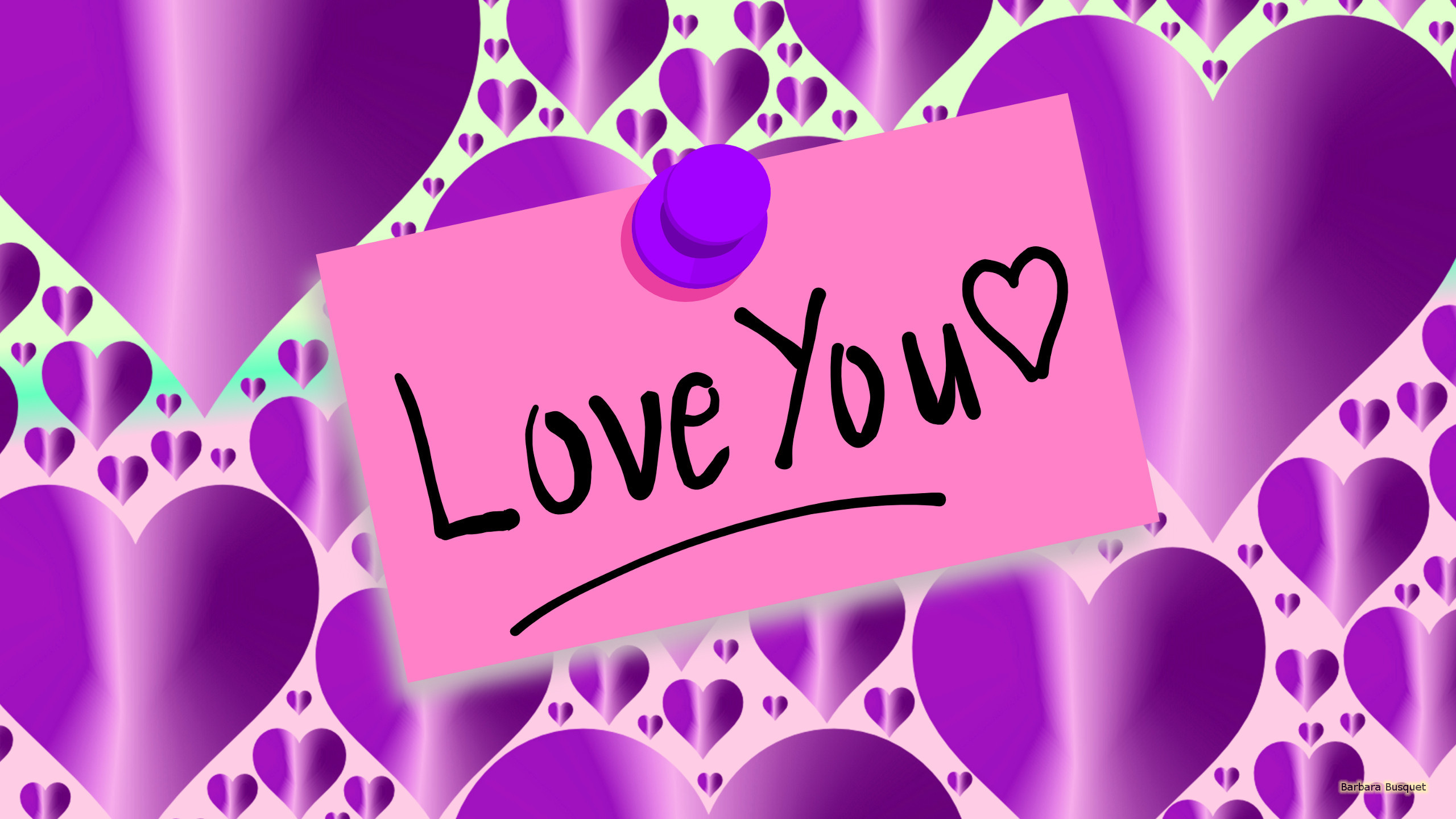 """Purple wallpaper with a pink note with """"love You"""" written …"""
