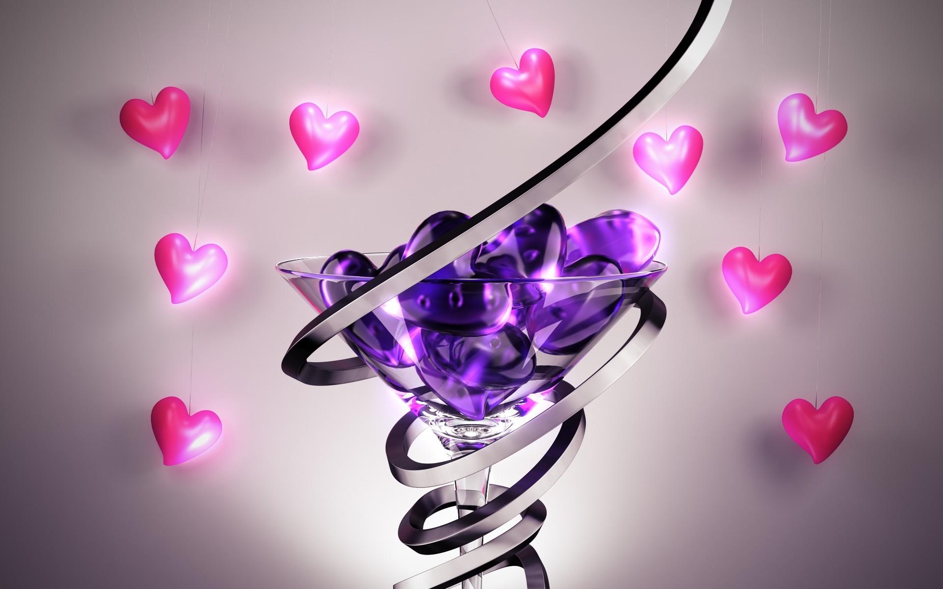 Purple Pink Love Hearts HD