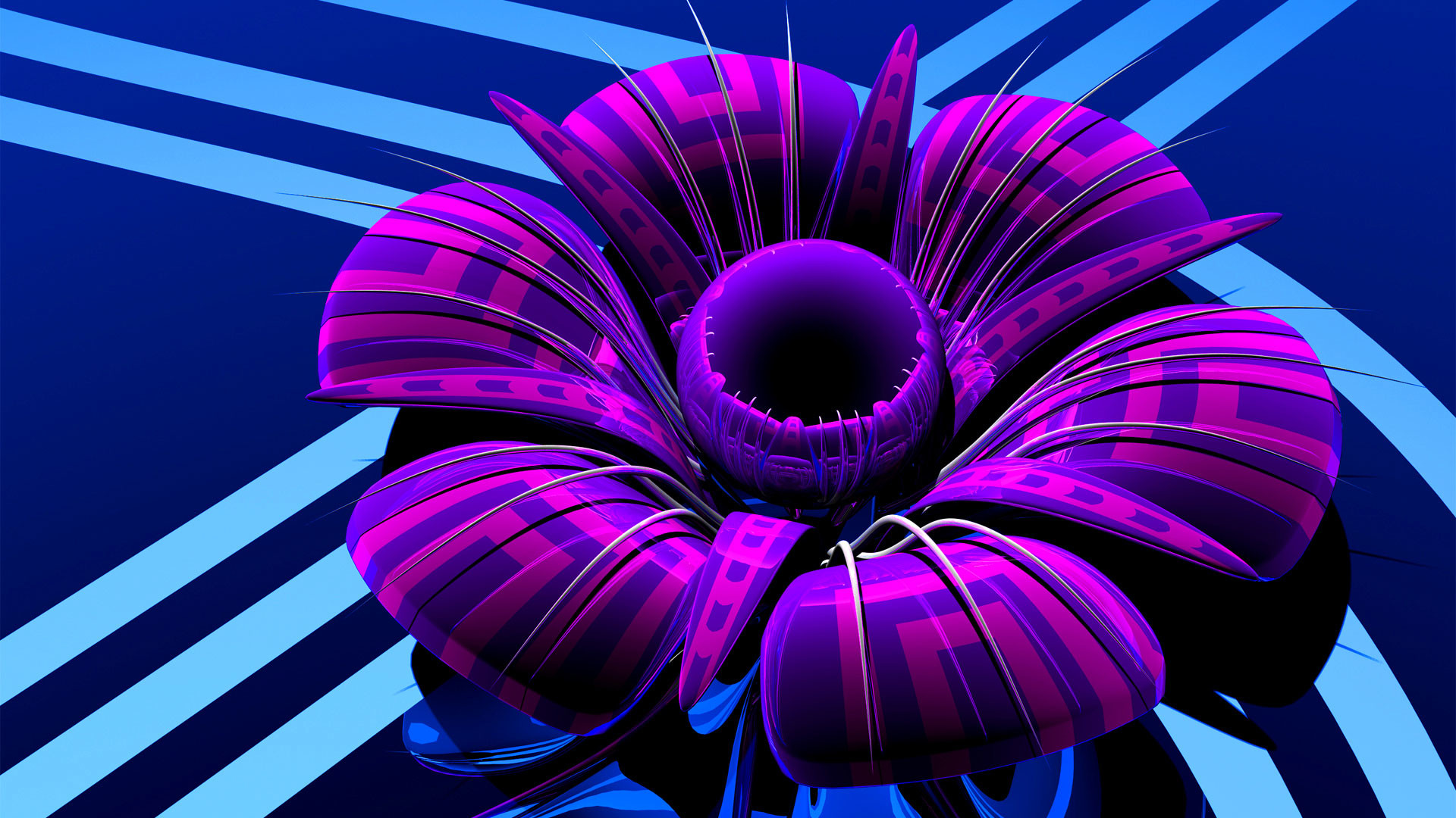 hd pics photos best stunning 3d animated flower glossy neon purple hd  quality desktop background wallpaper