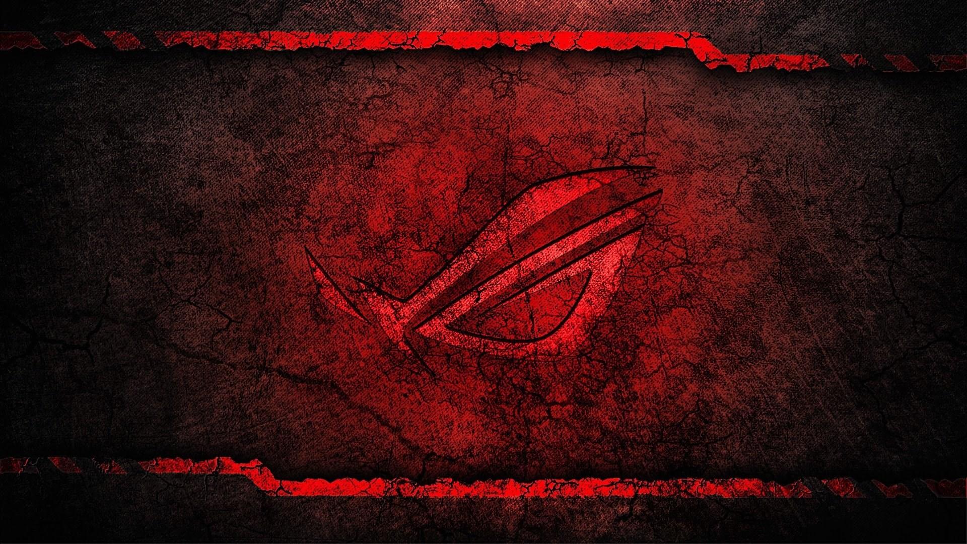 asus rog republic of gamers logo grunge background hd wallpaper