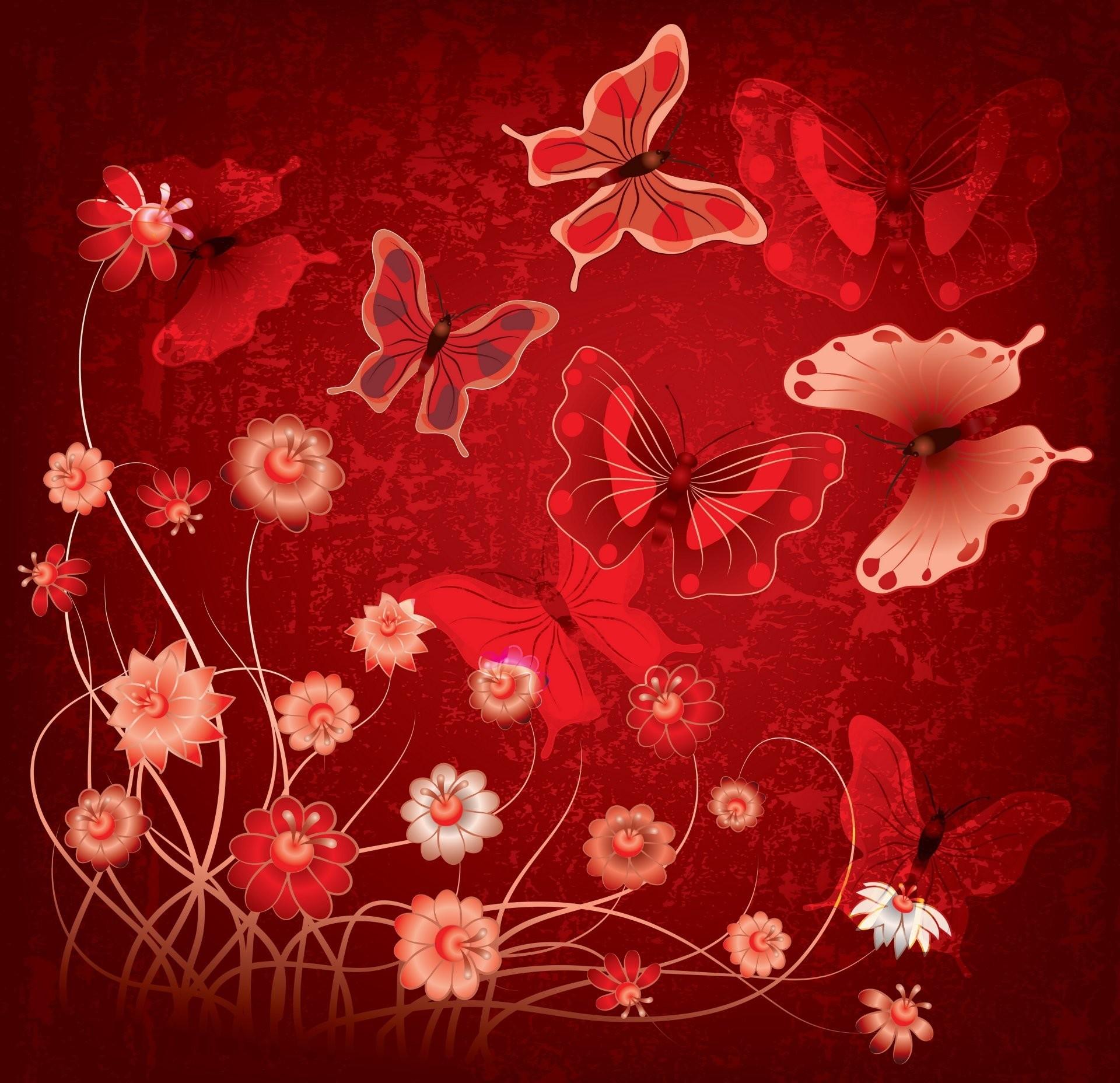 abstract grunge butterflies flowers design butterfly flower red
