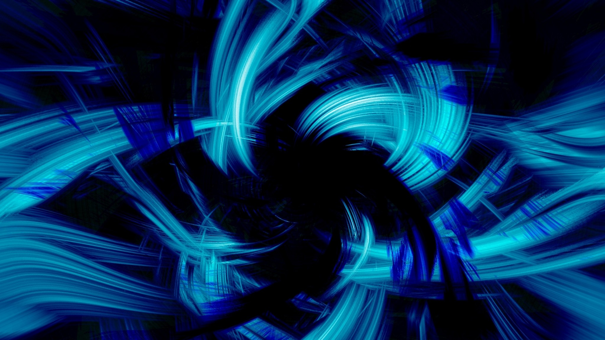 Preview wallpaper blue, black, abstract, brush 2048×1152