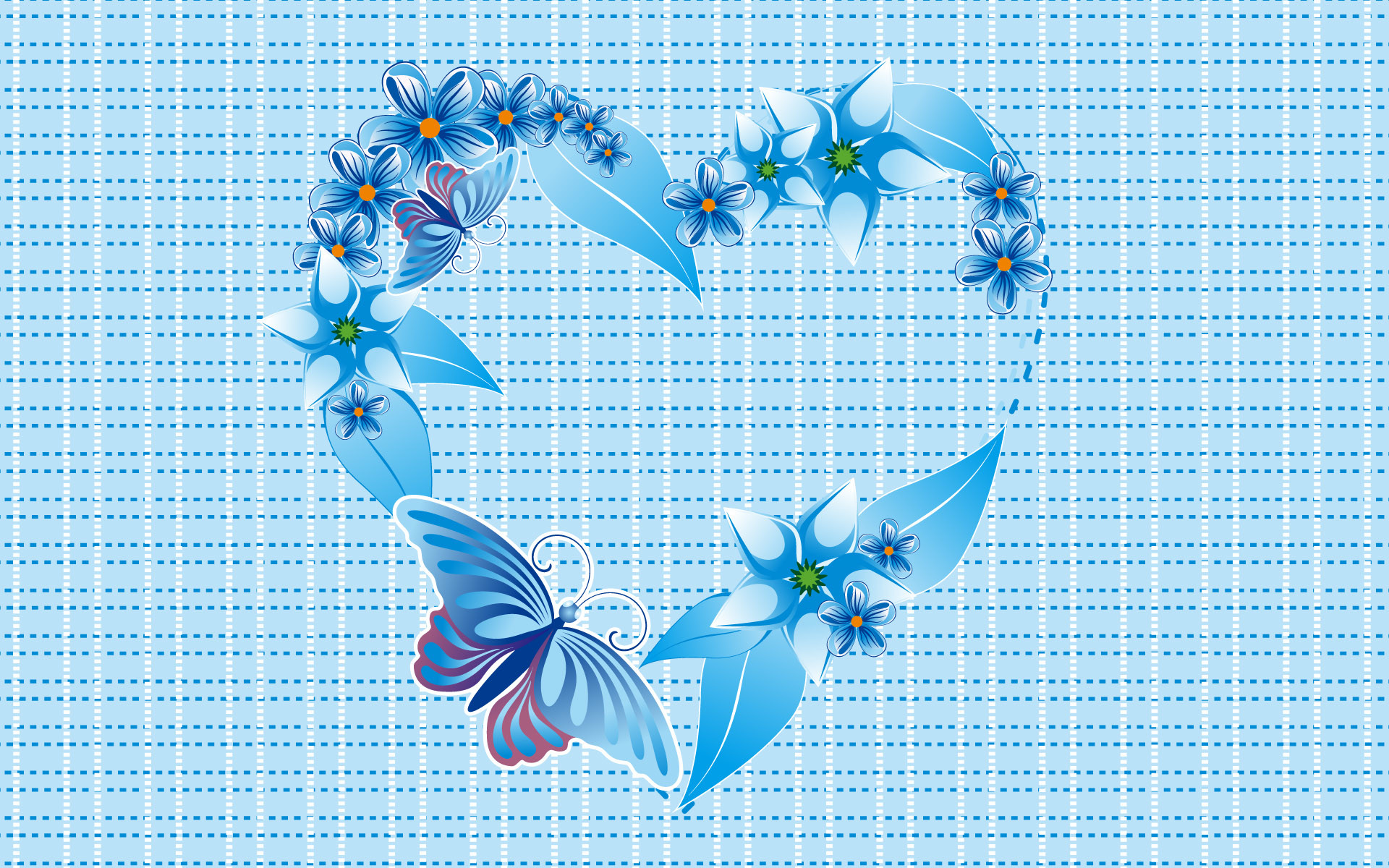 Blue butterfly heart
