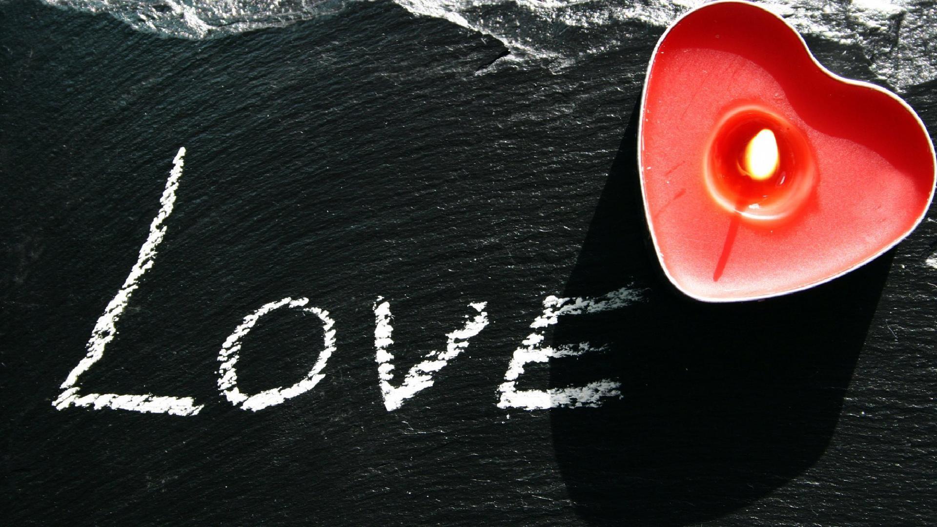 Love written on a black stone