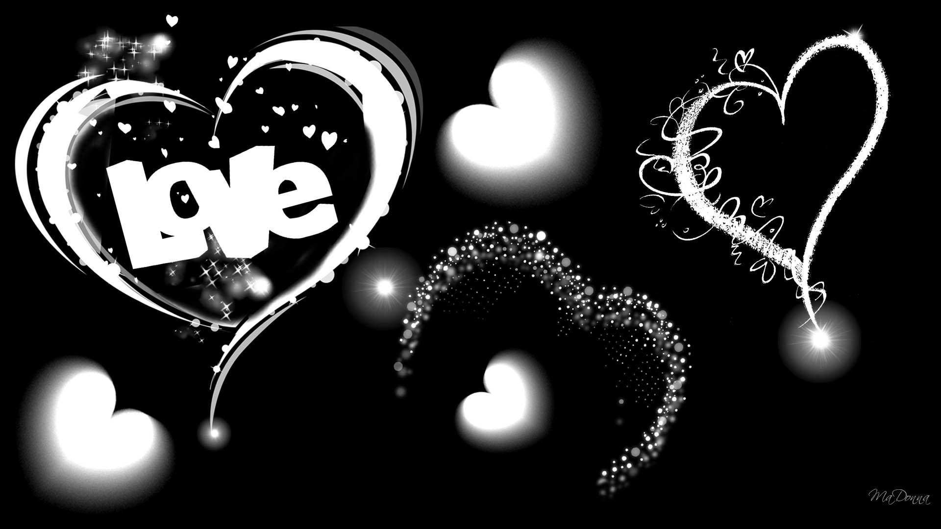 The Word Love in Black and White Wallpaper