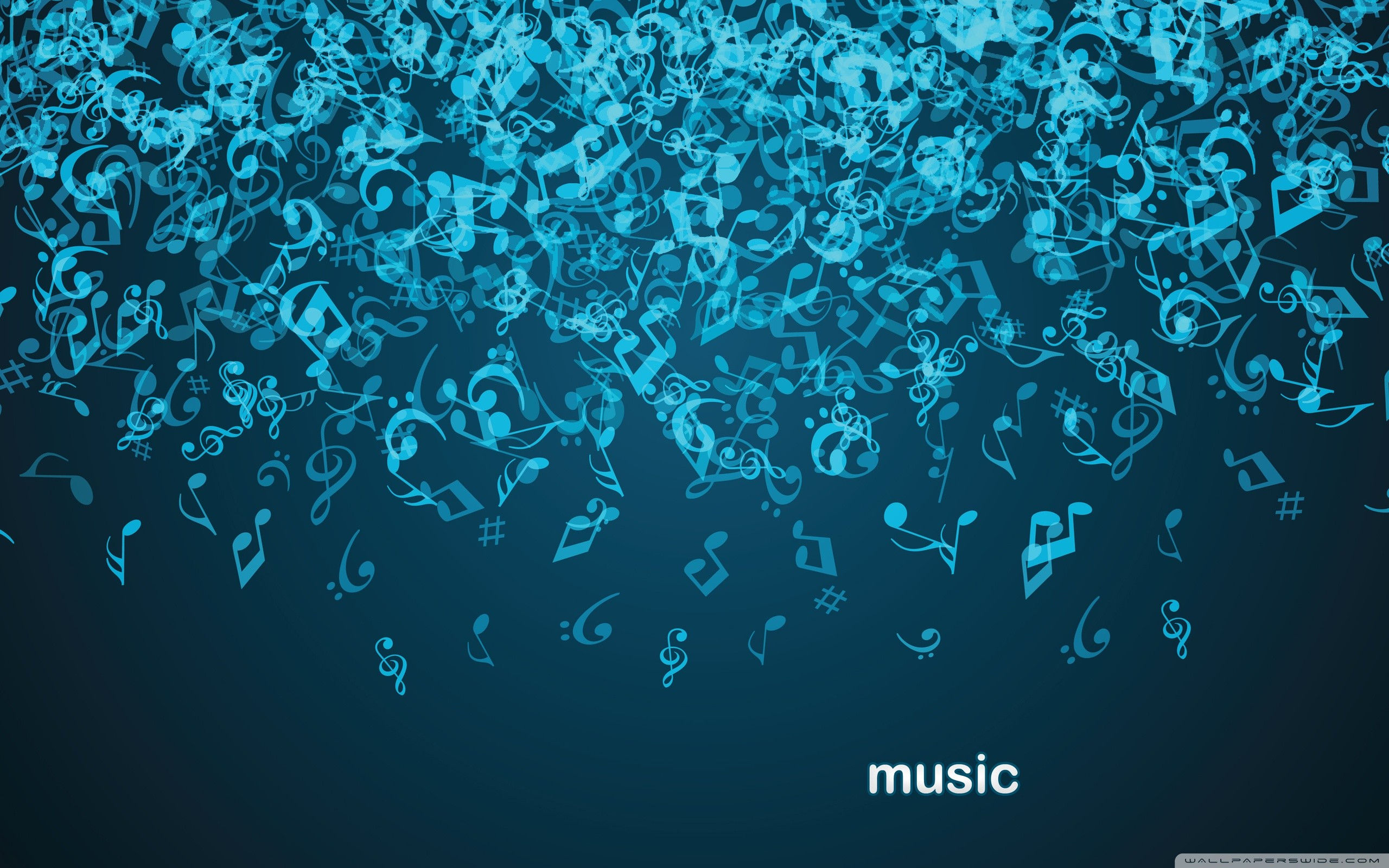 Blue Music Notes Background (4)