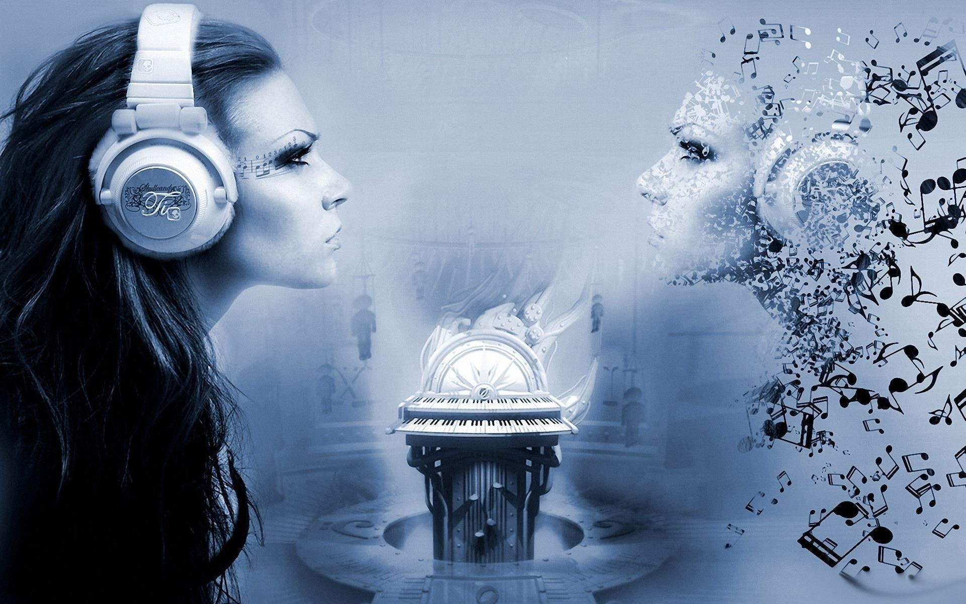 Click here to download in HD Format >> Creative Girls Listen Music  Wallpapers http: