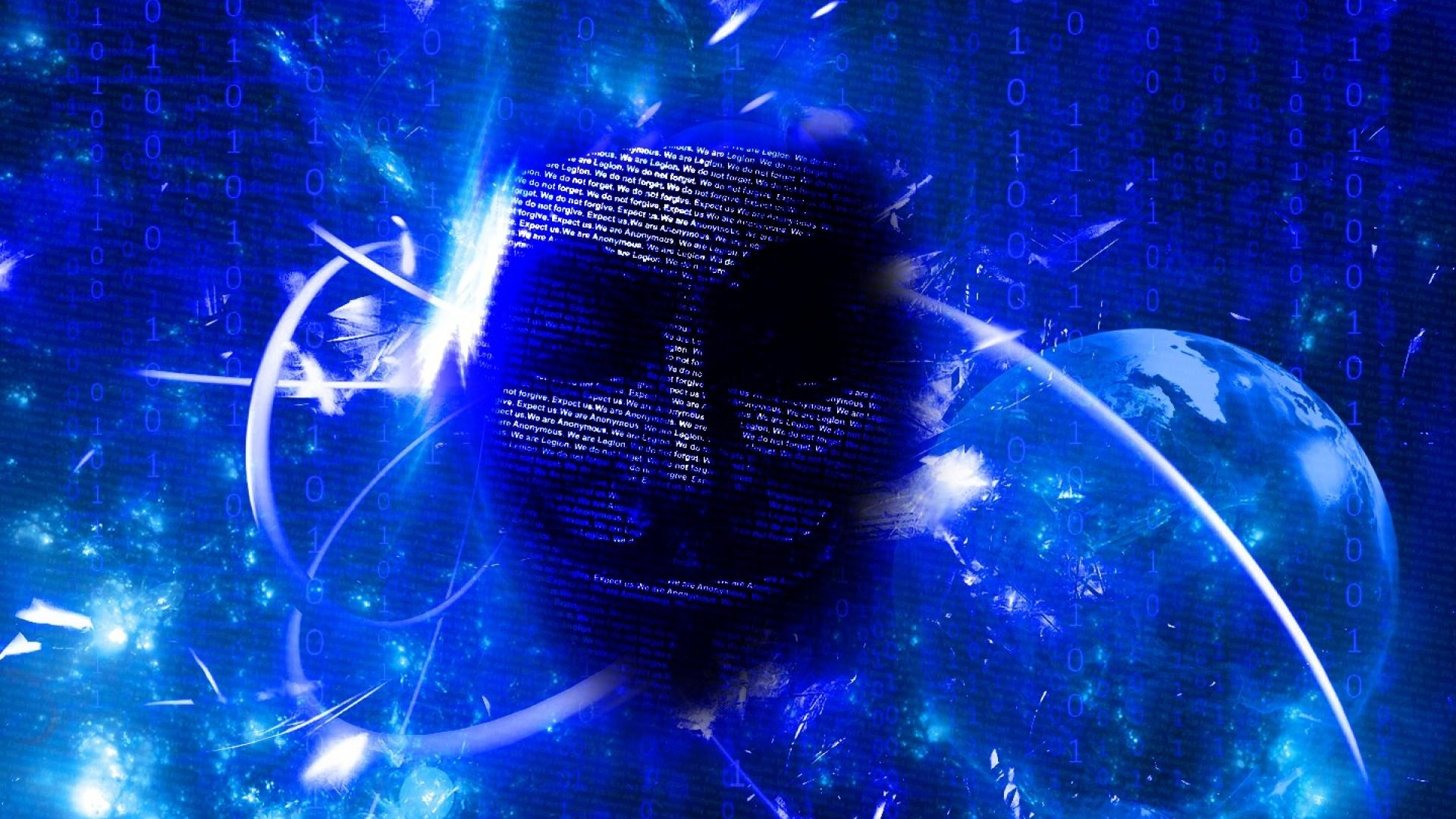 Abstract blue anonymous matrix binary code wallpaper
