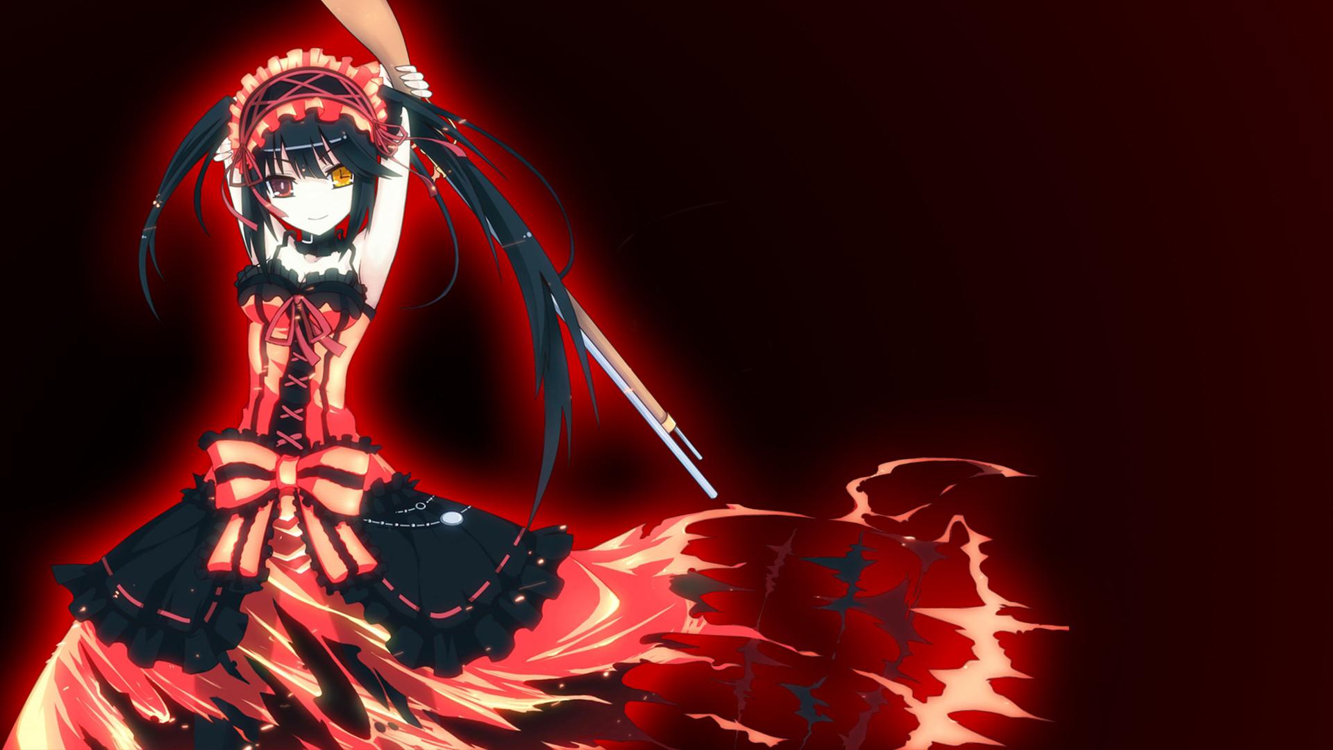Anime – Date A Live Heterochromia Dress Black Hair Long Hair Gun Girl Anime  Kurumi Tokisaki