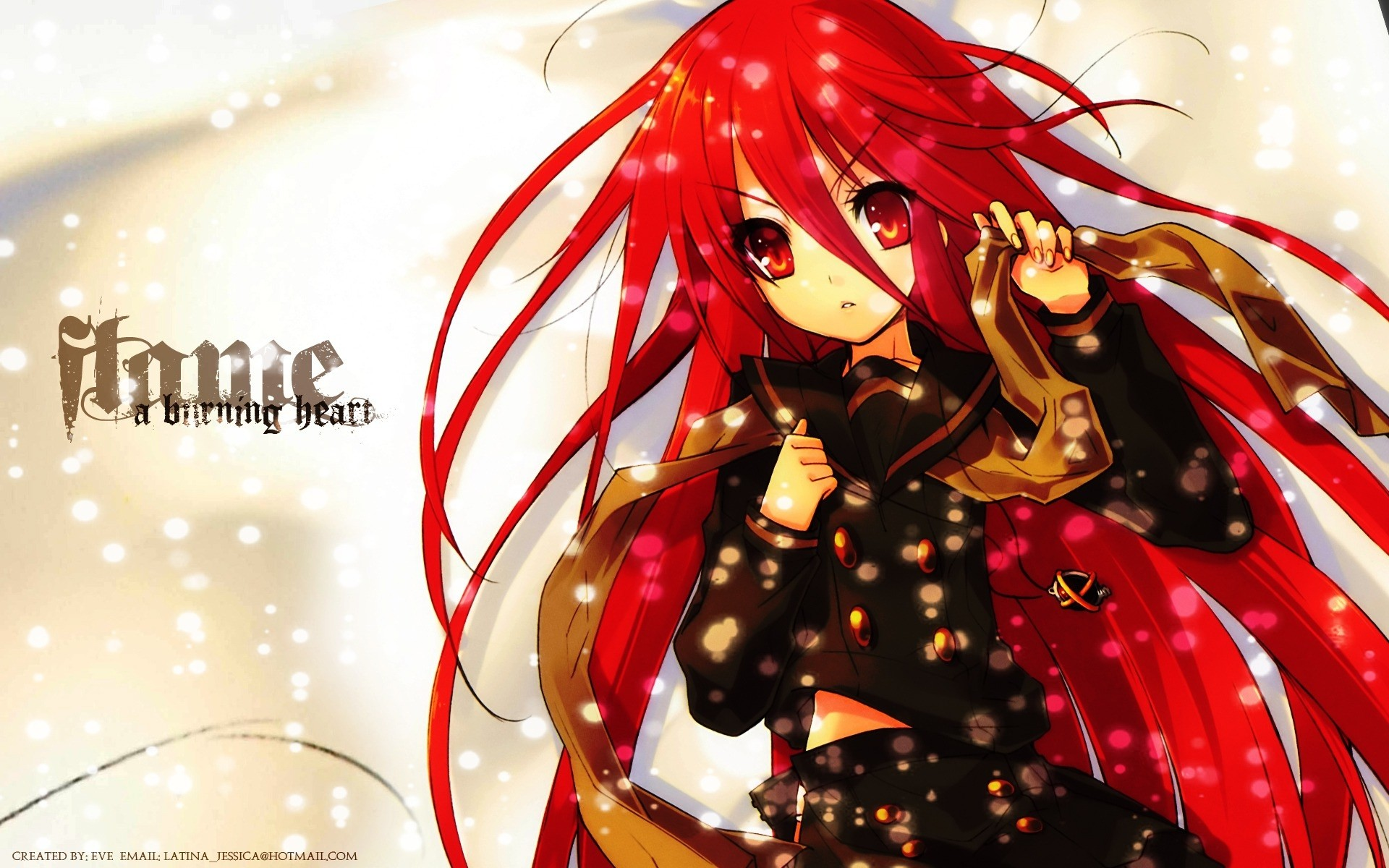 Download Wallpaper Anime, Girl, Hair, Red, Scarf, Snow .