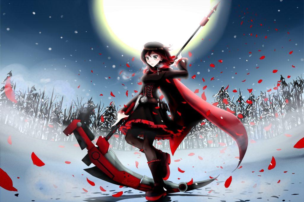 Wallpaper art, mizukai, anime, rwby, ruby, girl, petals, cloak
