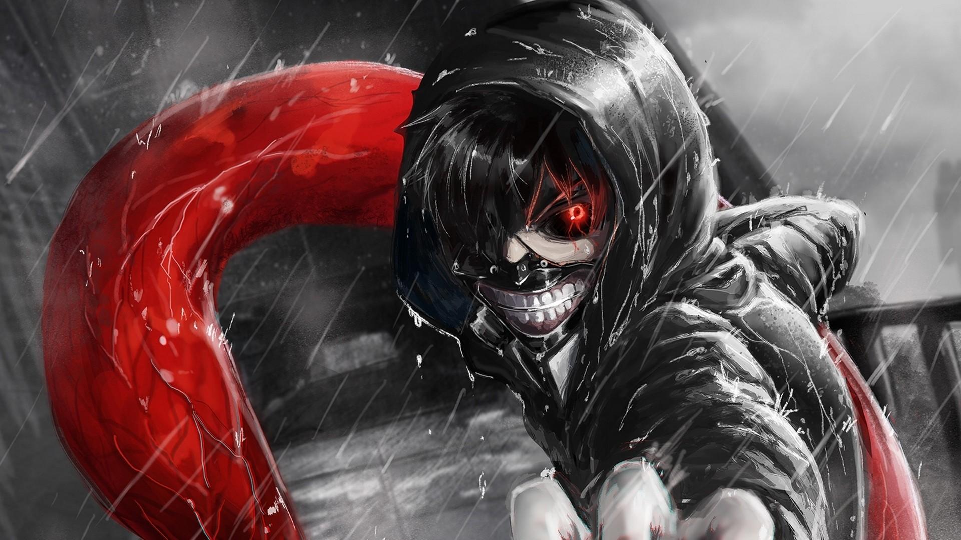 Wallpaper kaneki ken, tokyo ghoul, look, gesture, claw, rain