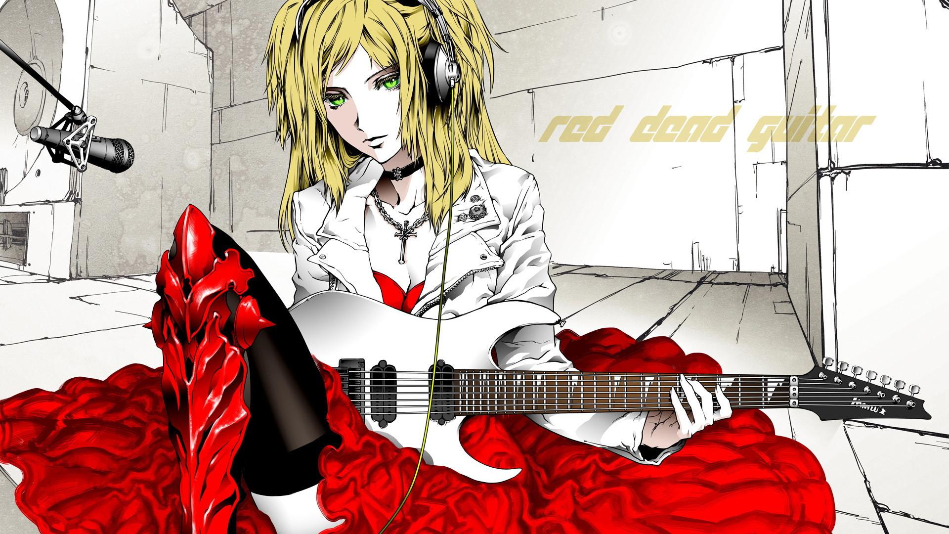 red dead guitar, anime, guitar, microphone, headphones