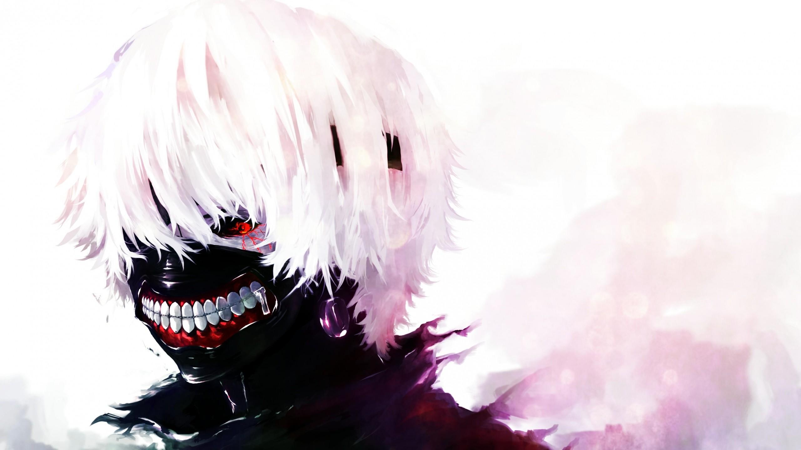 Preview wallpaper tokyo ghoul, kaneki ken, man, mask, red eyes, white