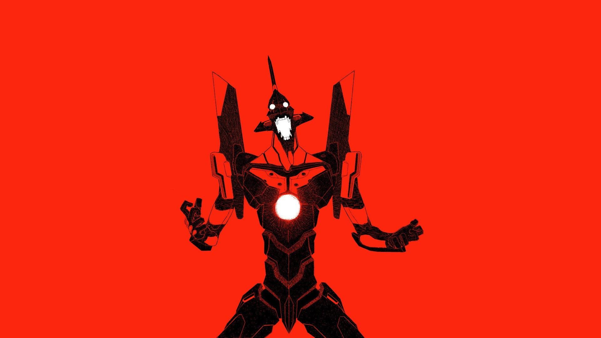 Minimalistic mecha Neon Genesis Evangelion anime EVA Unit 01 red background  wallpaper | | 198840 | WallpaperUP