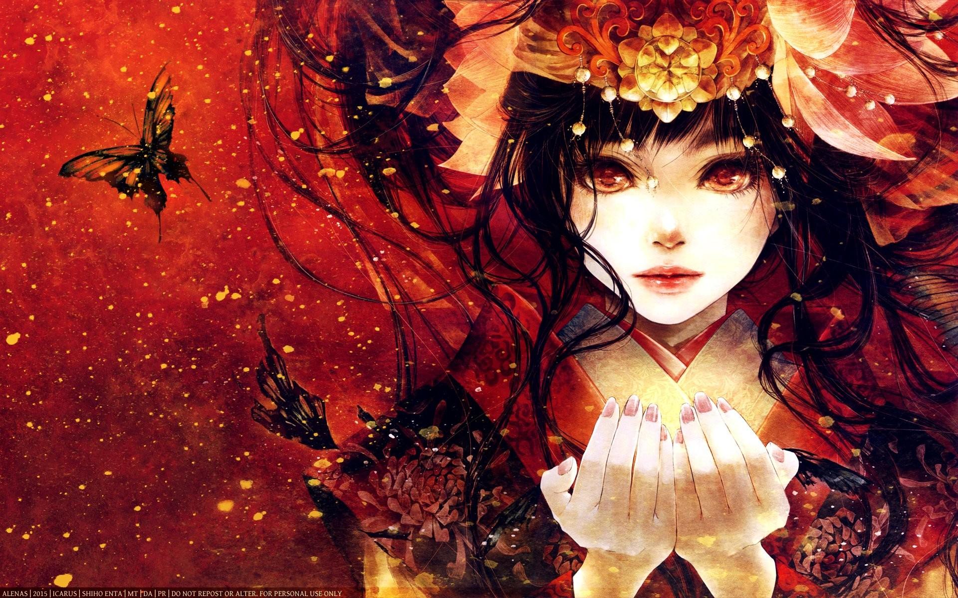 Anime – Girl Anime Red Butterfly Flower Wallpaper