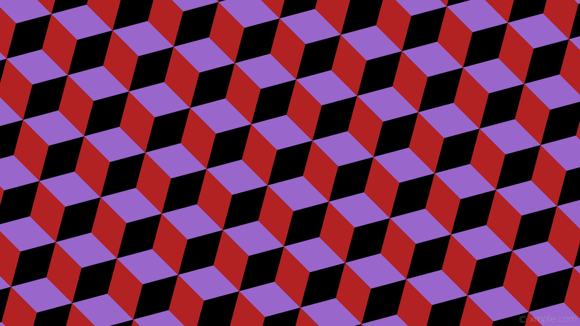 wallpaper red 3d cubes purple black amethyst fire brick #000000 #9966cc  #b22222 45
