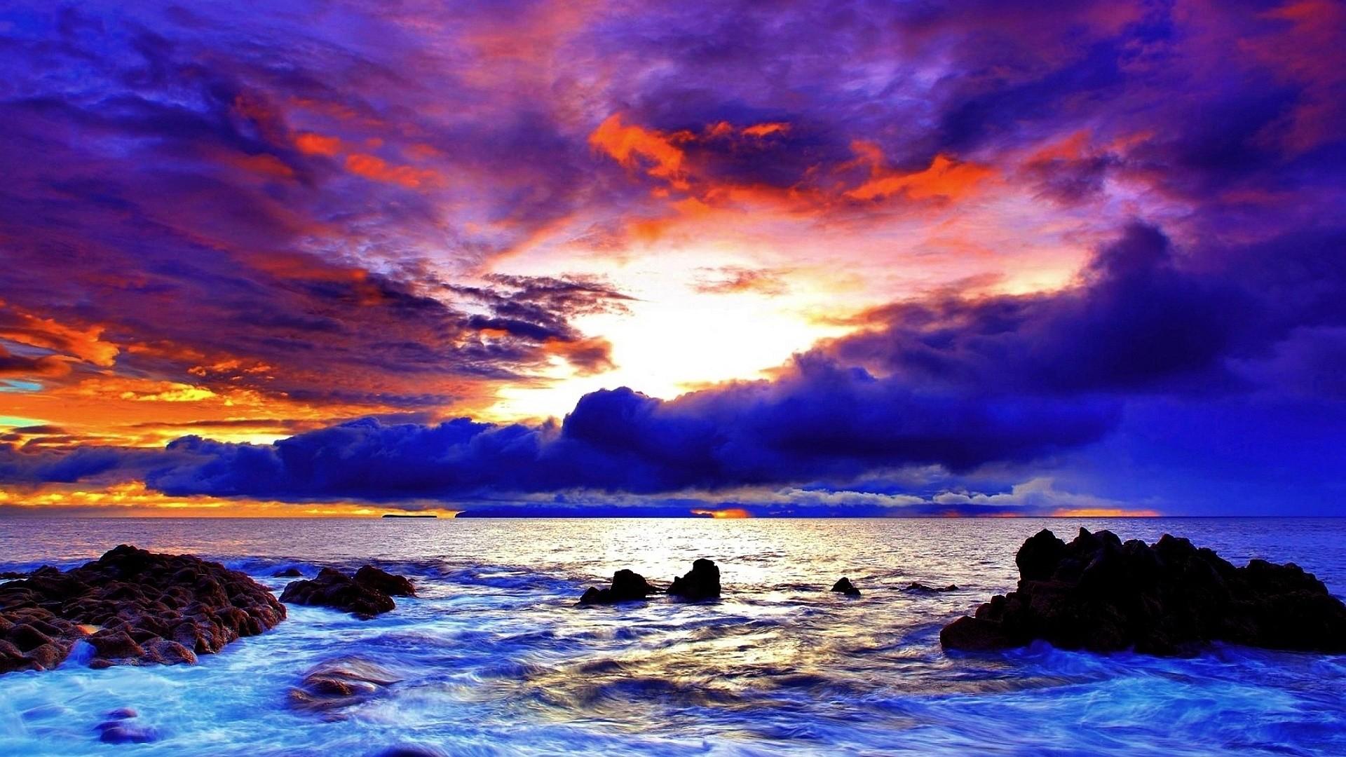 Purple red sunset