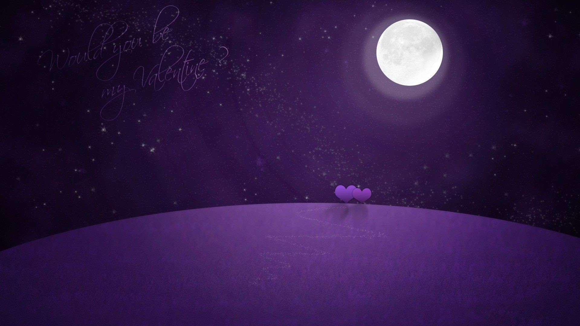 Valentines Day Purple Violet Moon Art Design Background wallpaper .