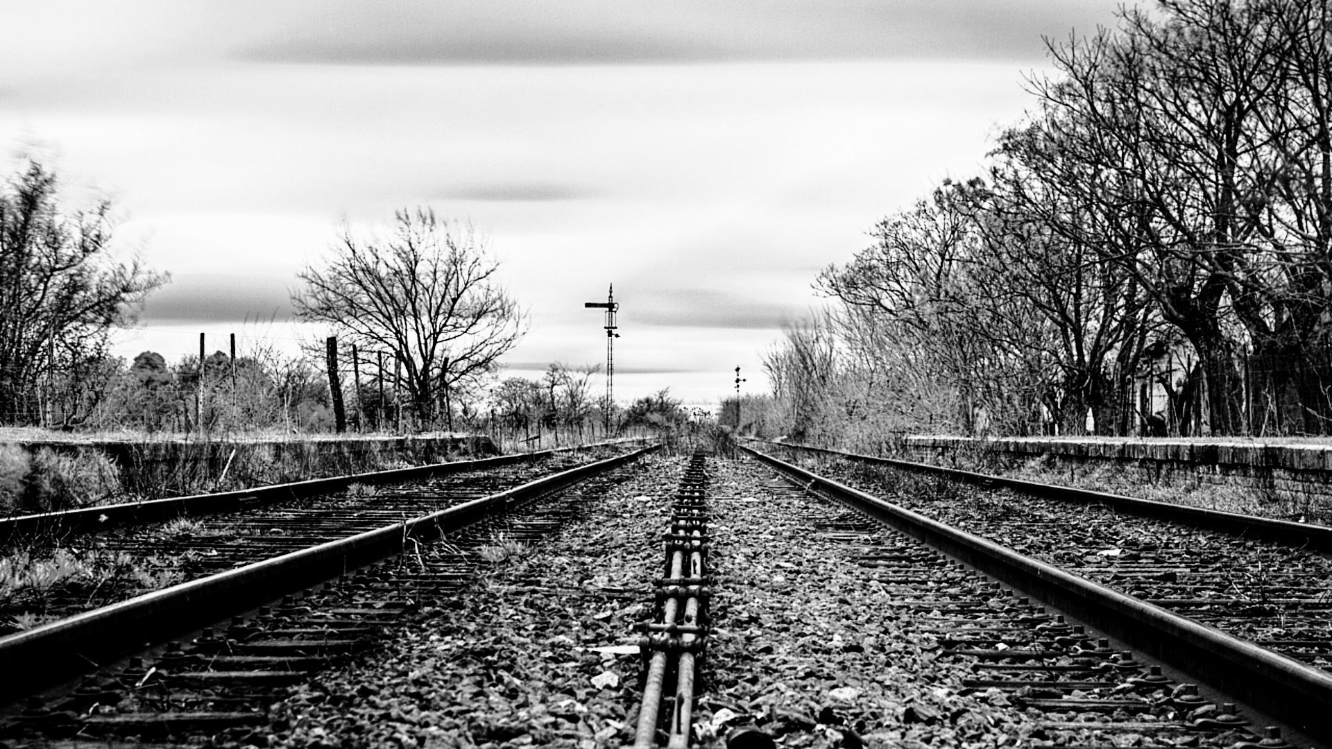 Download Railway Track Black and White Photography HD Wallpaper .