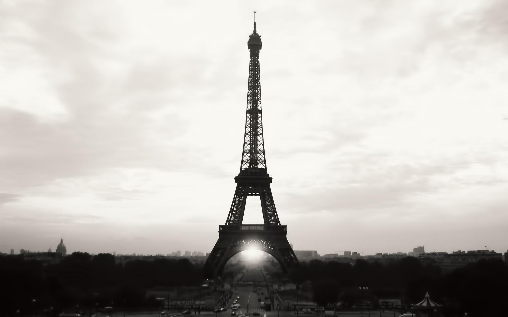 Eiffel Tower Paris Black and White Photography Desktop Wallpaper
