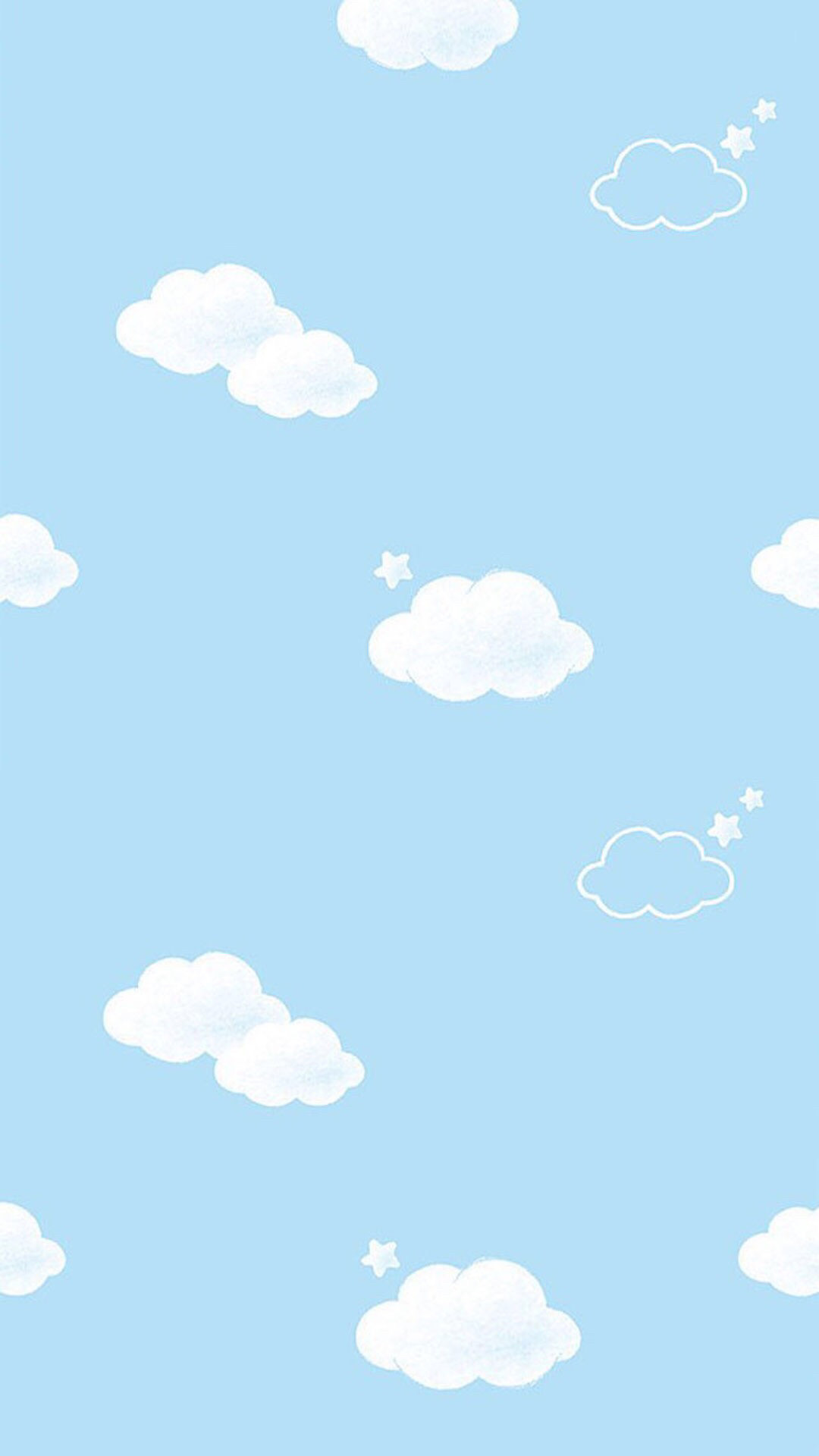 Blue white mini clouds stars iphone wallpaper phone background lock screen