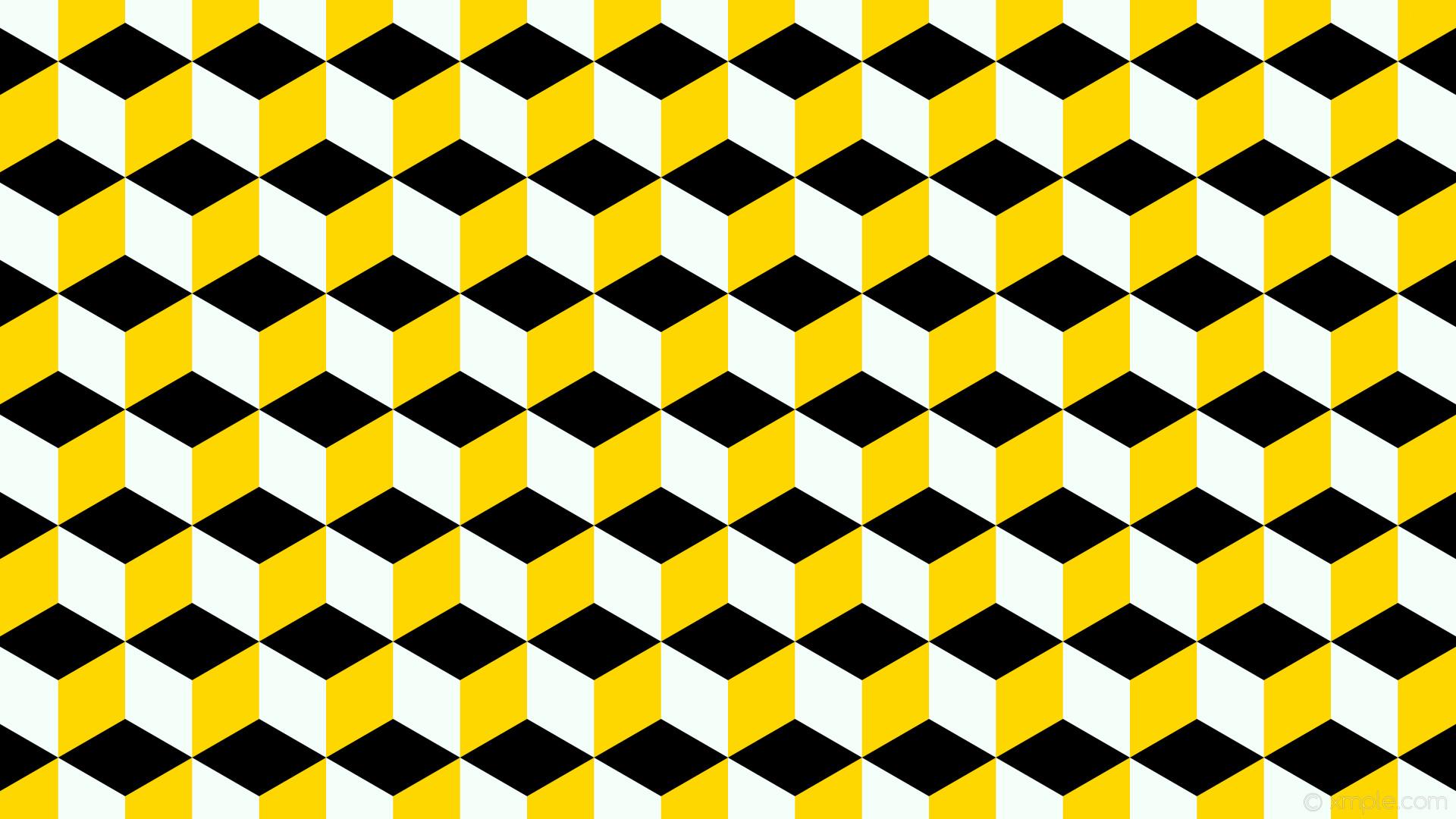 wallpaper yellow 3d cubes white black mint cream gold #000000 #f5fffa  #ffd700 0