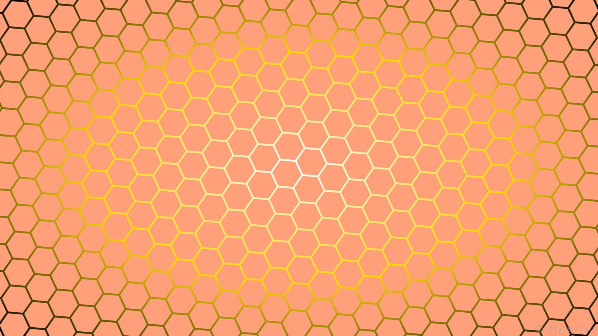 wallpaper hexagon glow white red gradient black yellow light salmon gold  #ffa07a #ffffff #