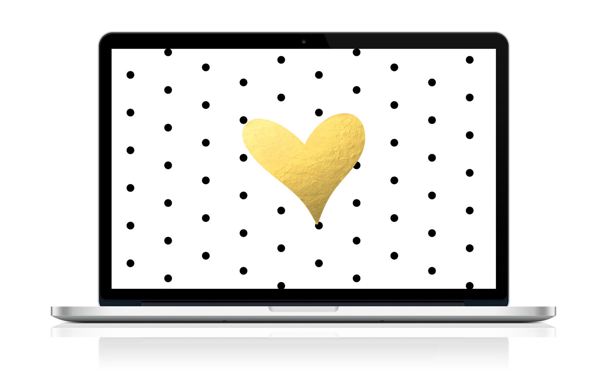 Free Desktop or Laptop Wallpaper! Black & White Dots + Gold Heart!