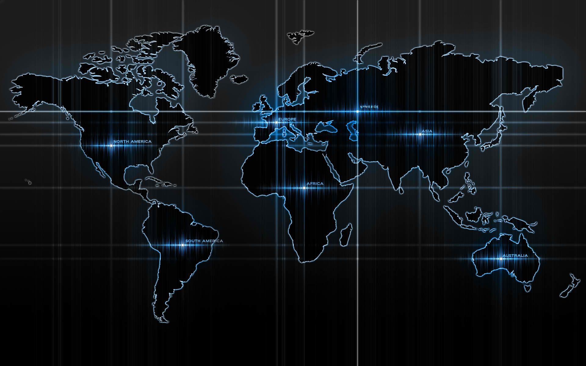 High Tech Blue World Map
