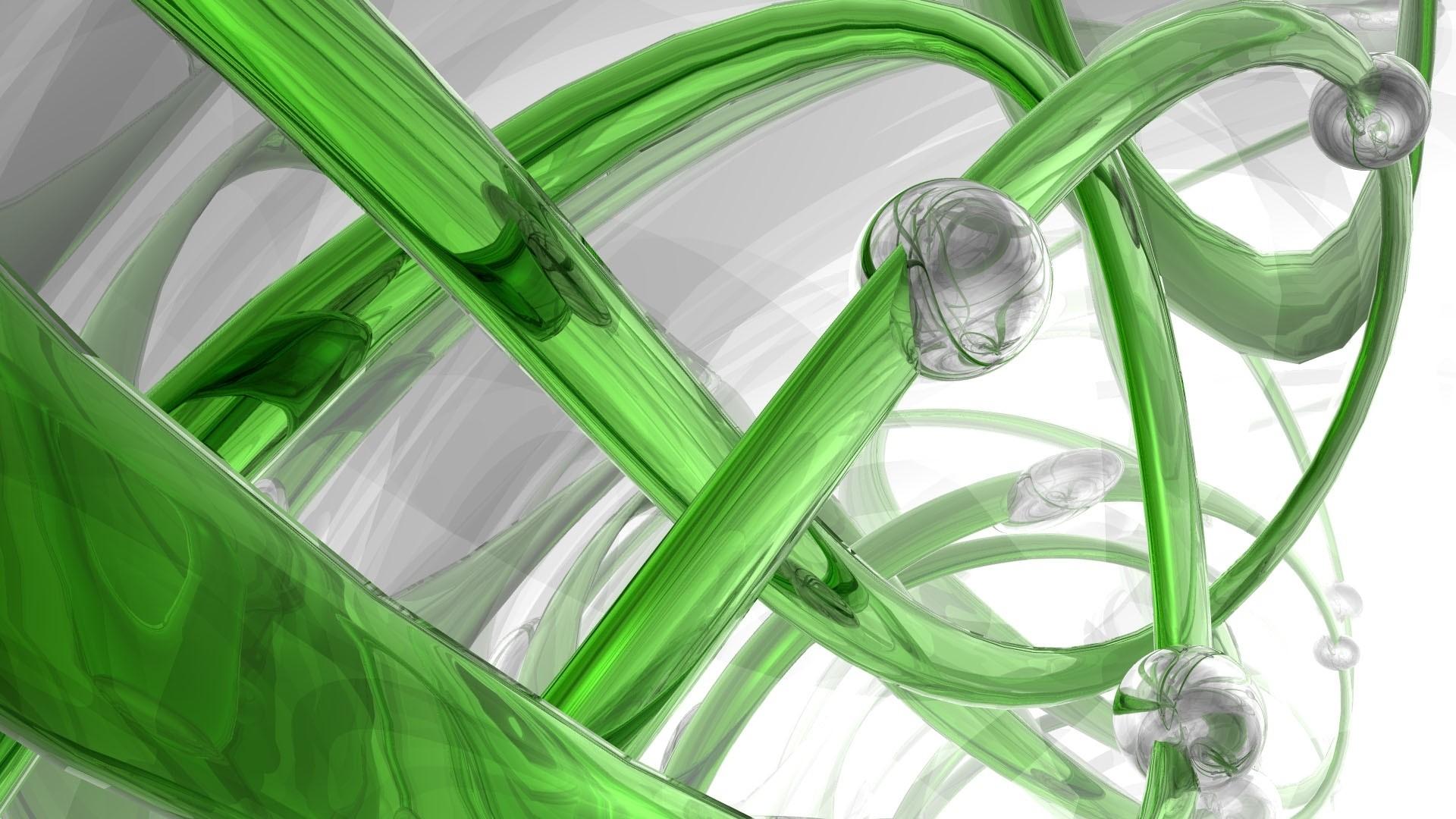 Wallpaper 3d, spiral, glass, green, white
