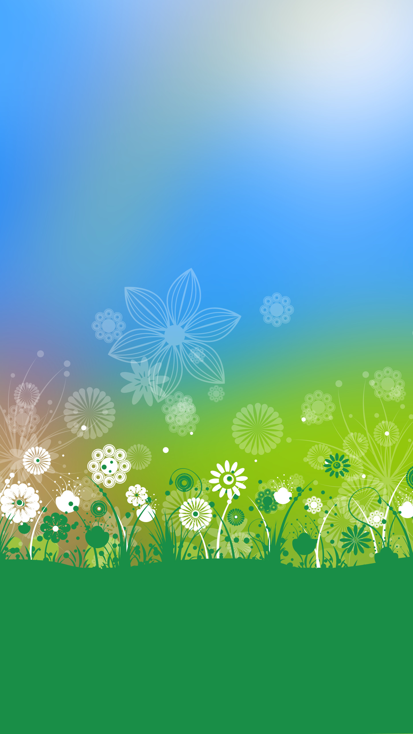 Green and white spring flowers Wallpaper