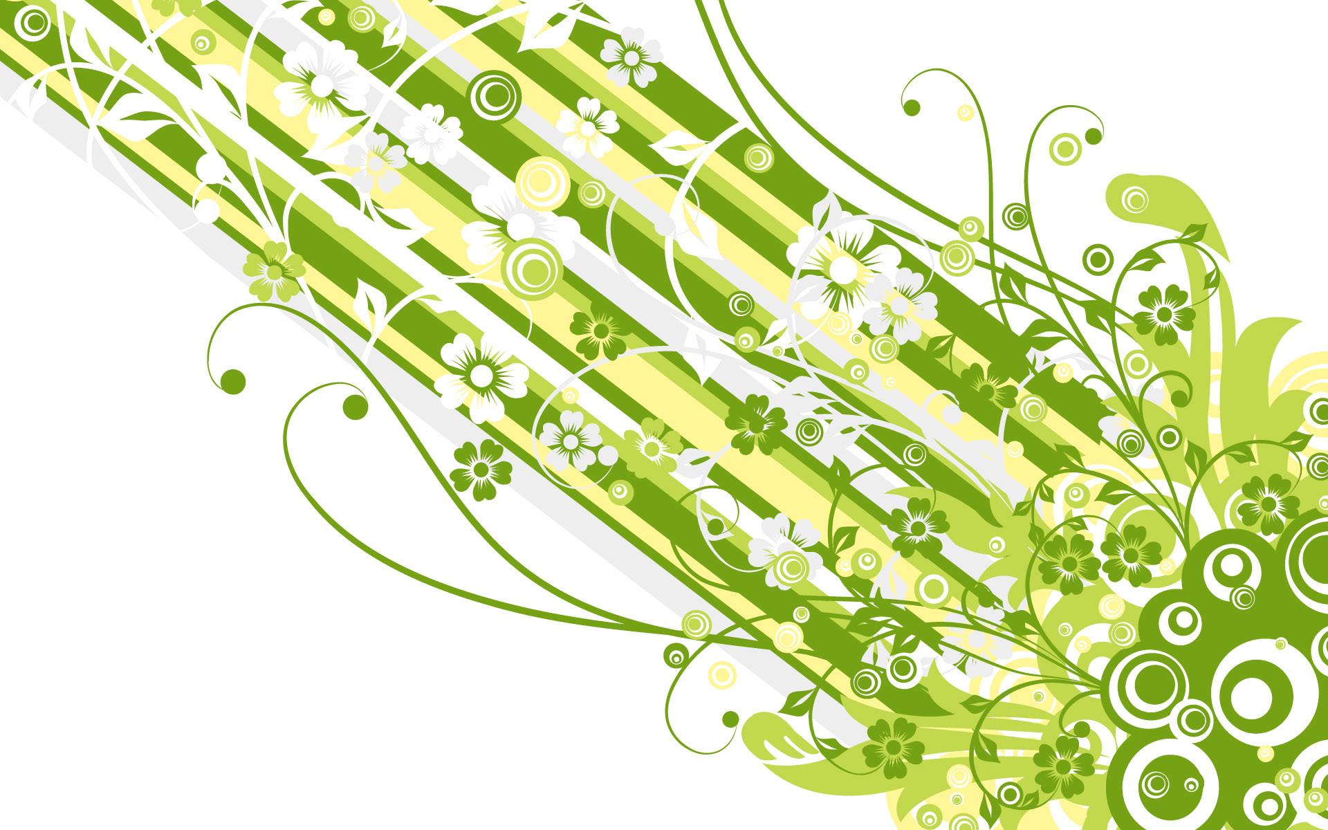 Beautiful Green Vector Flowers Wallpaper