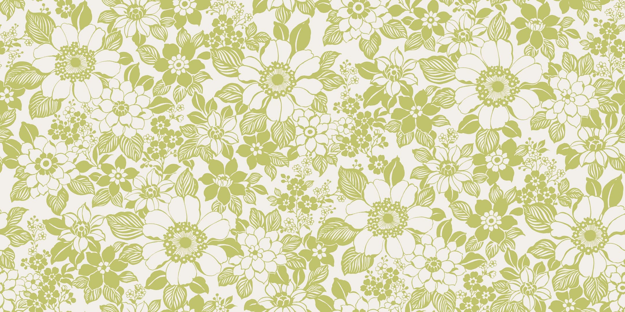 Contemporary wallpaper / floral pattern / white / green – 3878/3879