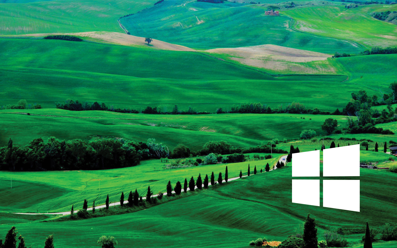 Windows 10 white simple logo over the green hills wallpaper