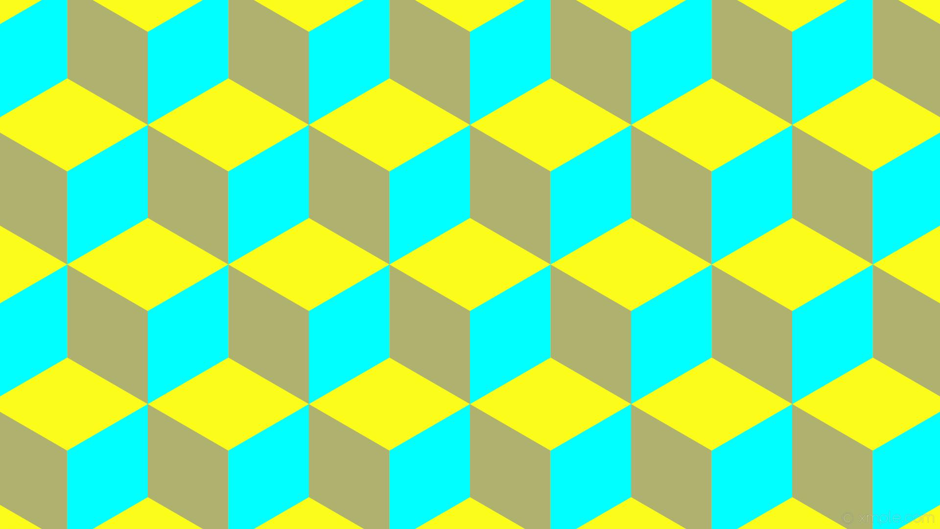 wallpaper 3d cubes blue yellow aqua cyan #fcfc1b #afb26f #00ffff 0° 190px