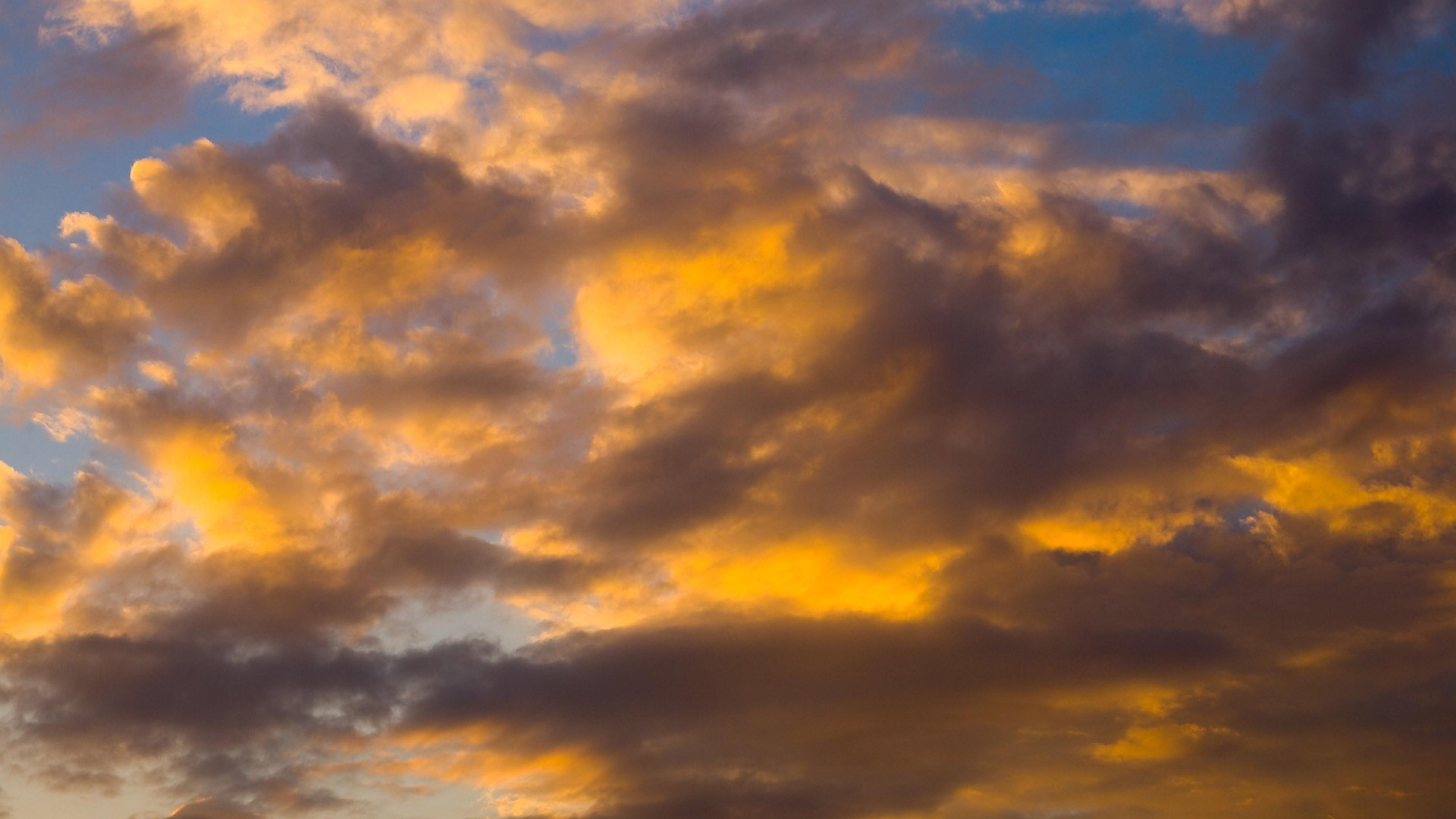 Wallpaper clouds, sky, sunlight, white, blue, yellow