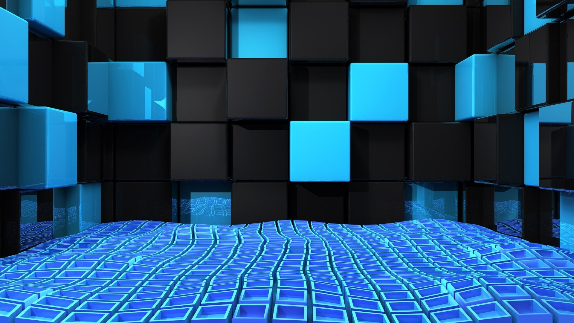 Preview wallpaper cube, squares, space, blue, black, weightlessness  1920×1080