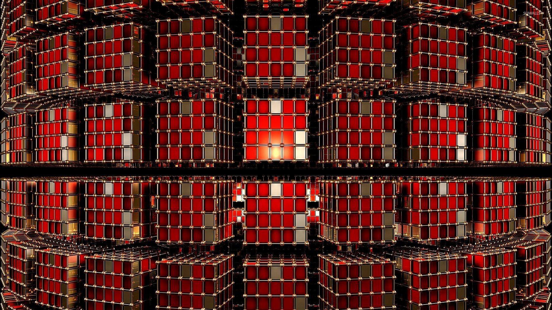 Red metallic cubes wallpaper